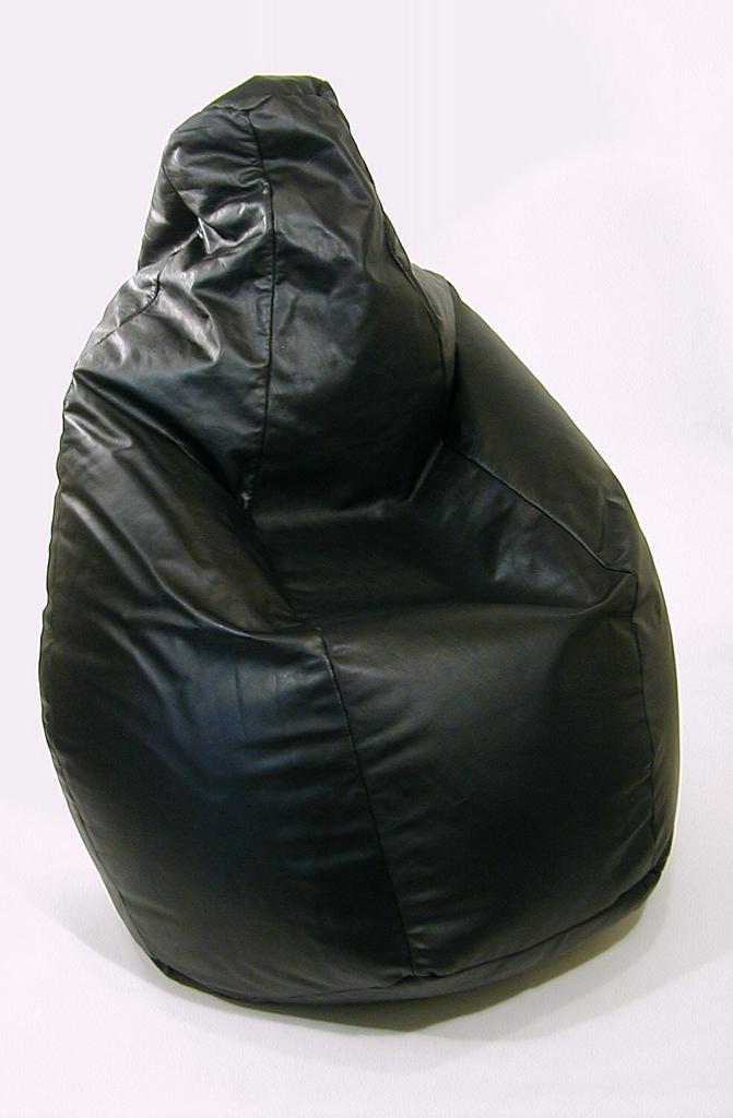 Black leather bean bag chair.