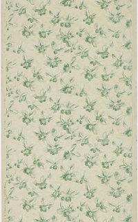 All-over floral pattern. Very dense imagery. Single flower, or pair of buds, each containing a few leaves. Shadow effect of mica leaves surrounds. Printed on gray ground.