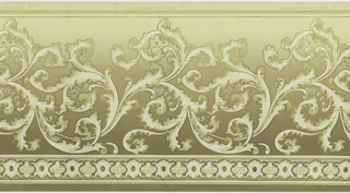 An overall scrolling bronze-edged acanthus leaf design upon a ground that becomes increasinglly dark towards the base, above a complementary border. Printed in ivory, celadon green, cream, beige, tan, mina and bronze.