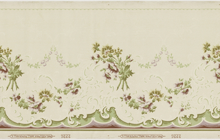 A repeating design of upside down bouquets of pink and magenta flowers incorporated in a scrolling acanthus leaf design in mica. Printed on ivory ground.