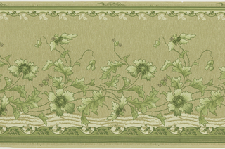 Horizontal ribbon-like stripe with lines crisscrossing horizontallyally inside it, and with green flower vines twisting above them. Background has an overall wavy line and dot pattern. Top and bottom have bands of waving floral vines. Ground is beige. Printed in beige, green, and cream. 
