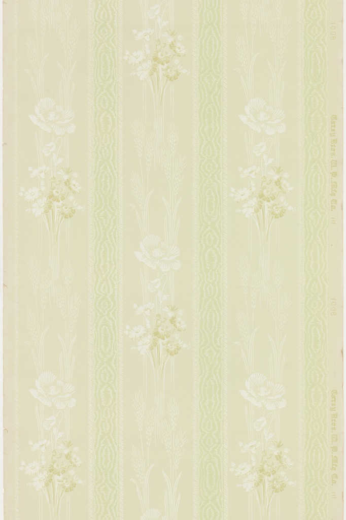Alternating lace-like vertical band of moiret pattern and band of flower and wheat bouquets. Ground is light green. Printed in white mica, white, green, and tan.