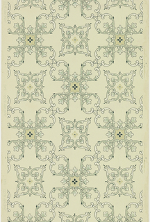 Quatrefoil shapes made out of foliate scrolls and flower motifs, connected by scrolls to form a treillage pattern. Flower-like design made out of foliate scrolls in the resulting negative spaces. Ground is cream. Printed in greens, white, and gold mica. 