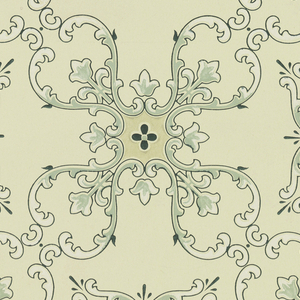 """Quatrefoil shapes made out of foliate scrolls and flower motifs, connected by scrolls to form a treillage pattern. Flower-like design made out of foliate scrolls in the resulting negative spaces. Ground is cream. Printed in greens, white, and gold mica.  Printed in selvedge: """"Janeway & Co. 549"""""""