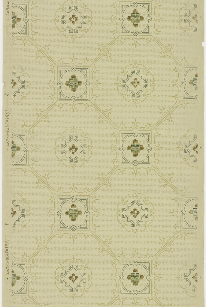 Grid or trellis pattern, octagonal shapes with flourish in center, linked to other octagons by square with quatrefoil in center. Printed in brown, green, and tan on background covered with dashes and dots.