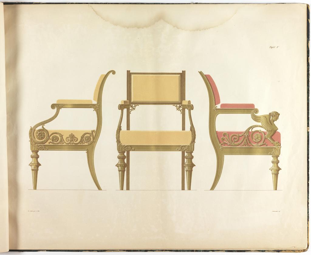 Book Illustration, Schinkel's königl. preuss. Geheimen Raths und Ober-Baudirectors Möbel-Entwürfe. . . (The Furniture Designs of Schinkel, Royal Prussian Privy Council and Chief Building Director . . .), Chair, plate V