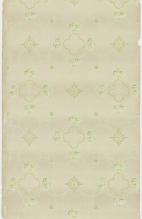 "Floral medallions with small rose center, lage and feather quatrefoil, lag and feather wreaths and four sets of two-rose bouquets. Surrounding the medallions are lag and feather wreaths which connect to fleurons, small flower motifs and striped diamonds. Printed in greens, white and light yellow liquid mica on beige ground. Printed in selvedge: ""Standard Wall Paper Co."" pattern number ""645"" ""2"""