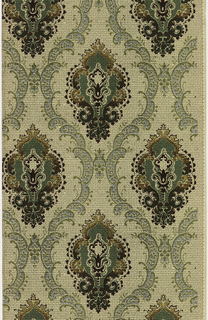 Large stylized floral medallion. Each medallion is enclosed within a scrolling ogival framework. Printed in green, blue and tan on patterned ground.