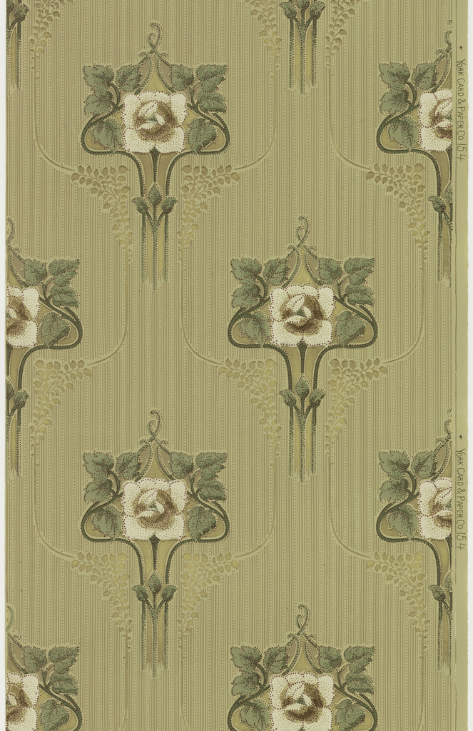 "Art nouveau / mission style. Large singular white stylized flowers with stem and leaves loosely outlined in a metallic gold line with large bunches of foliage. Background of monochromatic stripes and dots or beading. Printed in greens, browns, tan, white, maroon and metallic gold on light brown-green ground. Printed in right selvedge: ""York Card & Paper Co."" pattern number ""154""."
