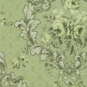 """Large medallions made of foliate scrolls with a bouquet of yellow flowers in the center, connected by floral swag and vining. The background has a treillage pattern. Ground is green. printed in greens, mica white, grey, and yellow.  Printed in selvedge: """"72C Ithaca Wall Paper Mills 2"""""""