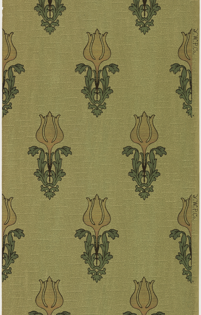 """Stylized individual tulips with large leaves. Background has vermiculation. Ground is green. Printed in pink mica, gold mica, green mica, and brown.  Printed in selvedge: """"Y. W. P. Co"""""""