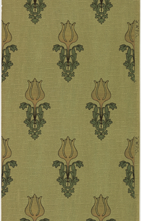 "Stylized individual tulips with large leaves. Background has vermiculation. Ground is green. Printed in pink mica, gold mica, green mica, and brown.  Printed in selvedge: ""Y. W. P. Co"""