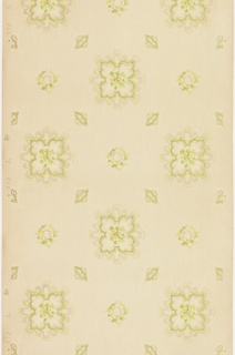 """Various floral medallions/fleurons with small yellow flowers, foliate vining and beading. Printed in greens, yellow and metallic gold on ribbed ground with white liquid mica overlay. Printed in selvedge: """"C&W."""" pattern number """"278"""" """"8?"""""""