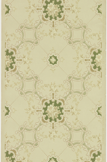 "Large foliate scroll quatrefoils with floral medallion insets, foliate vining and beading that creates and X pattern, connected by large floral medallions.  Printed in tans, tan-pink, green and white liquid mica on light beige ground. Printed in selvedge: ""Imperial Wall Paper Co."" ""SandyHill N.Y. 3"""