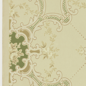 """Large foliate scroll quatrefoils with floral medallion insets, foliate vining and beading that creates and X pattern, connected by large floral medallions.  Printed in tans, tan-pink, green and white liquid mica on light beige ground. Printed in selvedge: """"Imperial Wall Paper Co."""" """"SandyHill N.Y. 3"""""""