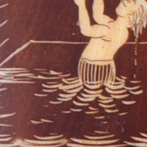 """Rectangular, in book form, featuring incised decoration with brown wash of a gentleman in Top hat standing on diving board requesting a light from a swimmer, who hangs from board's edge while in water below, inscribed """"Bitte!"""" at bottom. Reverse features same gentleman, having received his light, as he is flipped into air after swimmer has released board's edge, inscribed below """"Danke!"""". Two lids at top and bottom, hinged on metal pins. Striker on flat side."""