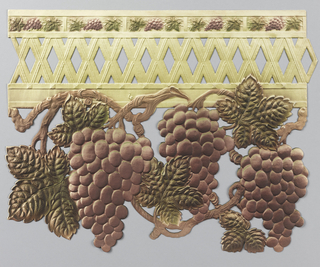 Vine with grape clusters and foliage suspended from openwork trellis at top edge. Printed in purple and green on tan.