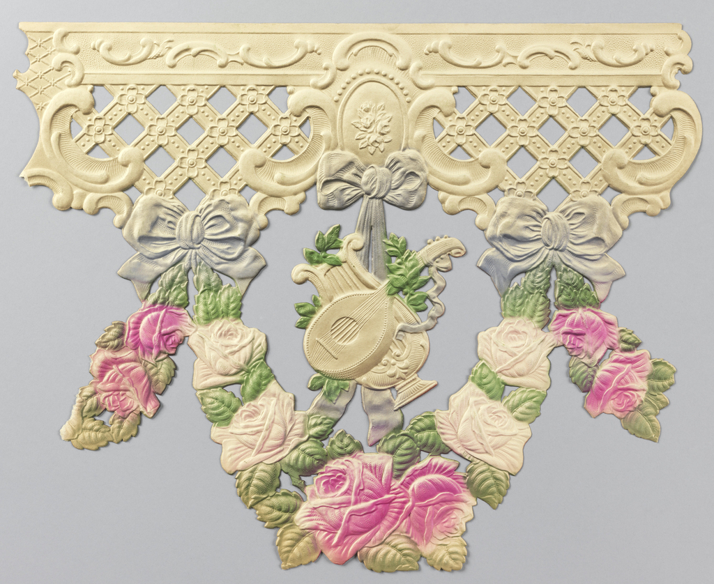 Floral swags, suspended from trellis with bow knots; a) printed in shades of green over-all; b) printed in pink, green, lavender and off-white.