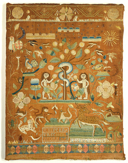 """Linen sampler, darkened with age, embroidered in blues, greens, yellow, white and pale pink silks. Serpent curving around apple tree with Adam and Eve at either side, surrounded by animals and flowers.  Inscription at bottom reads """"Ann Peartree, Her work 1734."""""""