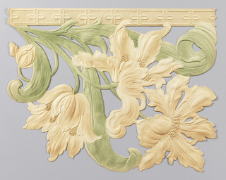 Tulips and foliage, suspended from narrow band at top edge. Printed in green and tan.