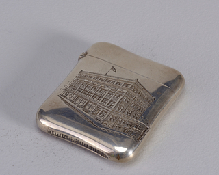 "Square with slightly indented top and bottom with rounded corners. Front image is of four story building.  A cornice below the top story is inscribed, ""The Telegraph Publishing Co."" Back is inscribed: ""Souvenir""; ""Dinner tendered Geo.H. Ham, by the Newspapermen of Montreal, Dec. 13 1905."""
