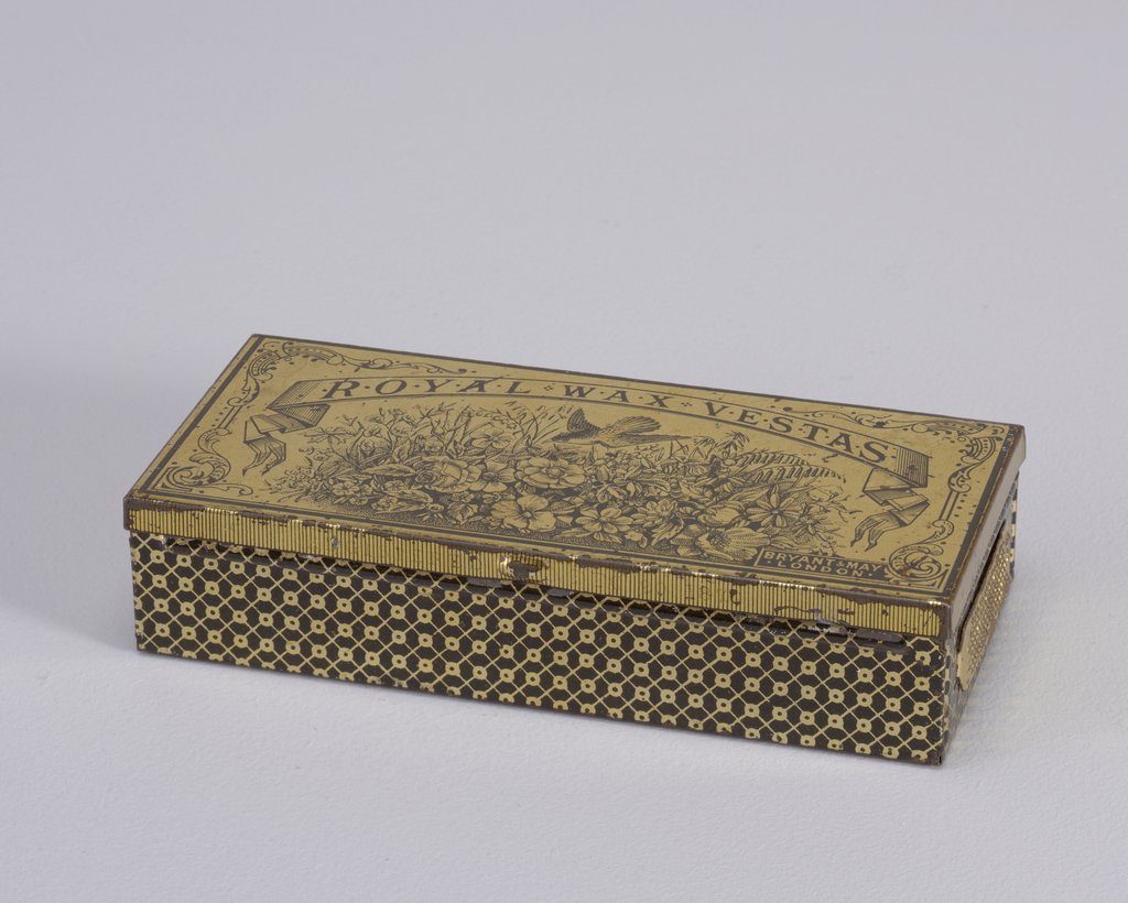 """A copper-colored rectangular matchsafe. Horizontally, there is an image of wild flowers and a bird, along with the logo """"Royal Wax Vestas Bryant and May London""""."""