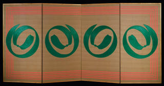 Folding screen decorated with four green spirals, one on each panel. All four panels connected with striped orange border on tan ground.