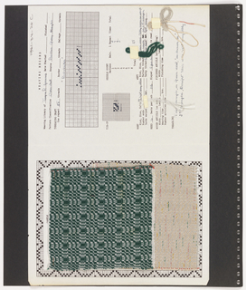 Two textile samples on paper. At top right, a printed template with handwritten weaving information, treadling sequence and yarn samples for the pattern Balalaika. Top left, plain weave textile showing grid pattern with diagonals in green and white.  Bottom left, plain weave showing wave pattern in oyster and cream with scattered coral, green and yellow.