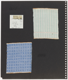 Two textile samples, one piece graph paper on perforated paper. At top left, graph paper with handwritten illustration of treadling sequence. Top right,  plain weave textile showing grid pattern of mint green and cream with darker green squares forming vertical lines. At bottom left, plain weave textile in cream and blue grid pattern with orange at border.
