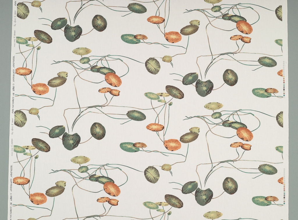 Water lily leaves and stems in green and orange on an undyed background.