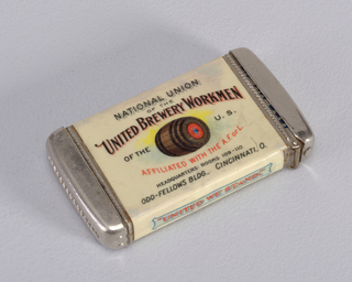 """Advertisement for the """"National Union of the United Brewery Workmen"""" Matchsafe"""