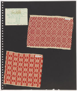Two textile samples, paper on perforated paper. At top left, graph paper handwritten with weaving sequence: Cheerio. At right, plain weave textile in cream and red with argyle pattern. At  bottom, plain weave textile in cream and red showing pattern of alternating squares and ovals.