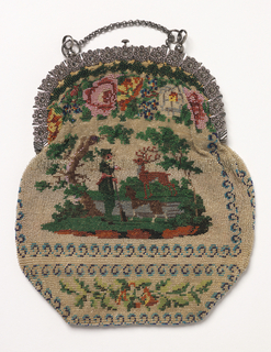 Cut steel frame ornamented with flowers; bag worked in colored beads with design of landscape with hunter, stag and dog surrounded by floral and geometric borders. On the reverse, the same except the landscape shows a house with a dog. Long steel chain, lined with satin.
