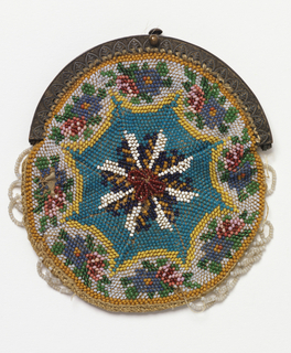 Knitted bag, circular in form, with an eight-pointed star in the middle with a floral border. Beaded scallops around edges; metal frame, silk lining.