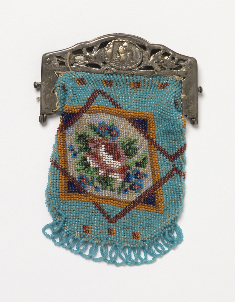 Knitted bag with colored glass beads in a design of a rose with forget-me-nots in an eight-pointed star on a blue ground; finished at bottom with blue bead fringe and at top with a metal frame ornamented with cut-out floral designs and engraving.