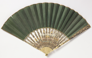 Pleated fan. Green silk weave leaf finished with narrow gilt paper at top. Pierced and carved ivory sticks with details painted or overlaid with gold foil. Box: tapering with rounded corners, covered with black silk and lined with orange colored paper, with cover hinged on one side and fastened with two hooks to eyes on the other side.