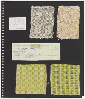 Four textile samples, two pieces graph paper on perforated paper. At top left, graph paper with handwritten illustration of treadling sequence. Top center, plain weave textile in cream and grey showing clover pattern. Top right,  plain weave textile in orange, cream and salmon showing horizontal stripes. At center, handwritten blue ink on grid paper: Flagstones - Bertha Gray Hayes / Popper March 59. At bottom left, plain weave textile in cream and lime pattern. Bottom right, plain weave textile in cream, lime and green pattern showing triglyphs within lozenges.