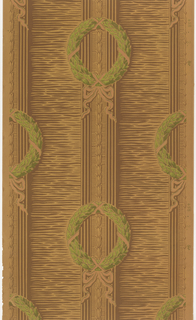 Light and dark brown wood-like ground with green wreaths and light brown ribbons.