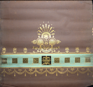 Near bottom edge, single wide band of green. Inside this band are squares containing motifs printed in gold. In the center is a large anthemia-like motif.  A band of floral finials above, with a band of pendents, swags and tassels below. Printed on deep brown ground.