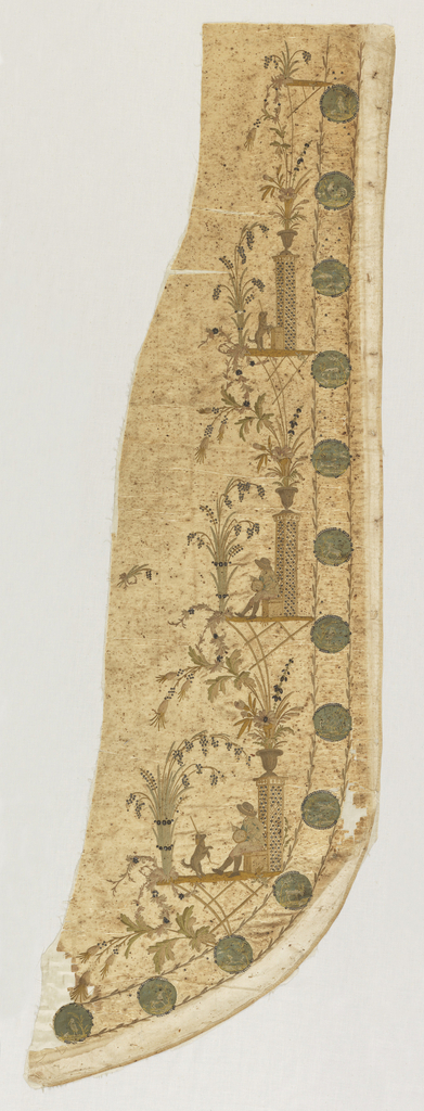 Ivory silk panel with curving hem embroidered with silk and spangles showing design of three terraces supporting a man and his dog, floral sprays and a column topped by a vase with flowers. Along the edge are thirteen medallions featuring birds and animals.