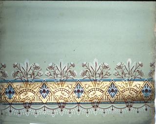Wide central band of Anglo-Japanesque in gold, with flowers and wheat above, and swags with tassels below. Burgundy flock with metallic gold, silver and green on light green fabric support.