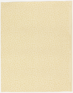 All-over fill pattern of foliate sprigs. Printed in yellow ocher on light tan ground.