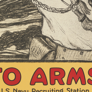 """A black and white image of a navy sailor playing a bugle is set within a yellow background. In red at the top reads """"Enlist in the Navy"""". A red line outlines the perimeter of the poster. Below the sailor it reads """"TO ARMS, U.S. Navy Recruiting Station""""."""