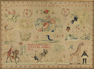 Exotic spot motifs of giraffe, man on horseback, palm trees, animals, birds, flower urn, alphabet.