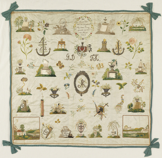"Isolated memorial and floral motifs mounted on green silk.  German text ""Dir theurer Vateri demich nie gekant Sey dieser Kranz geweit aus meiner Hand 1816."" ""To you dear father, whom I never knew, this wreath made by my own hand.""  ""Entfernfund doch Vereiniegt."" ""Going away from union.""  ""Zum Andenken dez freundschaht."""