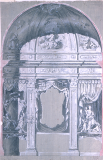 """A canopy is shown as the frame of a painting over an altar in the center.  Laterally are pilasters, the left one showing a candle bracket. An escutcheon is held by two angels in the left bay; """"Love"""" with four children is shown in the right bay.  Curtains are in either bay.  The Immaculate Conception is shown in the conch, revered by angels and two small saints."""