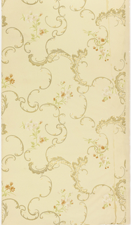 In Rococo style, seemingly random arrangement of scrolls and floral sprigs. Printed in colors on tan ground.