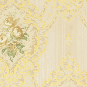 Floral bouquet within medallion. Flowers printed in shades of tan and green with metallic gold medallions. Medallions are connected by swags. Printed on striped off-white background.