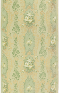 Irregular floral stripe design in the Rococo style. Bouquets of white flowers within metallic gold medallions, alternating with columns of foliage interspersed with gold scrolls. Printed on green ground.