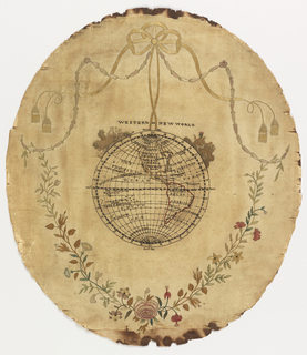 Globe showing North and South America with figures representing colonists and a Native American Indian. Surrounded by flowering sprays tied with tasseled ribbon.
